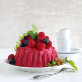 Pink butter-cream cake with sundry berries Stock Images