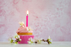 Pink butter-cream cupcake with flower and  candle Royalty Free Stock Image