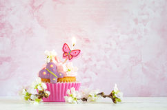Pink butter-cream cupcake with flower and  candle Stock Photography