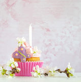 Pink butter-cream cupcake with flower and  candle Stock Images