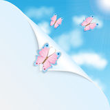 Pink butterflies and blue sky Royalty Free Stock Images