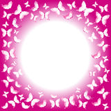 Pink butterflies border with place for your text Royalty Free Stock Photos