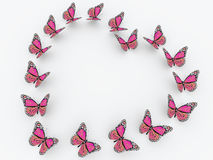 Pink butterflies isolated on white background Royalty Free Stock Photo