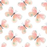 Pink butterflies pattern royalty free illustration