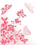 Pink butterflies and sakura flowers Stock Image