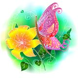 Pink butterfly. Bright pink butterfly sitting on yellow flower Stock Image