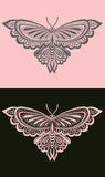 Pink butterfly. On a black background, gray butterfly on pink Stock Photo