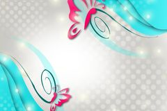 Pink butterfly on blue leaf, abstract background Stock Photo