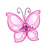Pink butterfly cartoon illustration Royalty Free Stock Photo