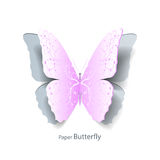 Pink butterfly cut out of paper. Pink butterfly with floral pattern cut out of paper on white background. Abstract design. Vector illustration Stock Photo