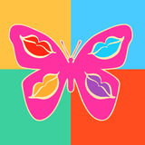 Pink butterfly with decorative patterns depicting lips on wings Stock Photos