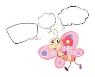 A pink butterfly with empty callouts. Illustration of a pink butterfly with empty callouts on a white bakground Stock Photos