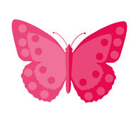 Pink Butterfly, flat design. Isolated on white background.  Royalty Free Stock Photography