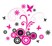 Pink Butterfly Flourish Stock Images