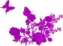 Pink butterfly and flowers dec. Illustration with pink butterfly and different flowers decoration Stock Photos