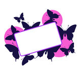 Pink butterfly frame Stock Photo