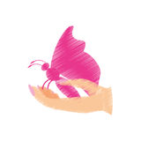 Pink butterfly in the hand icon. Image,  illustration design Royalty Free Stock Image