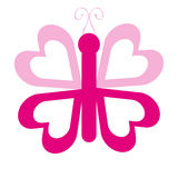 Pink butterfly with heart wings on white background. Vector illustration Royalty Free Stock Photo