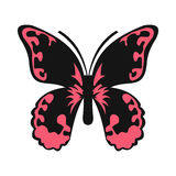 Pink butterfly icon in flat style Stock Images