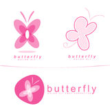 Pink butterfly icon logo Royalty Free Stock Photo