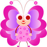 Pink Butterfly Illustration, Butterfly Cartoon. Pink butterfly with pink flowers dress cartoon illustration, pink flowers, insect, fauna, smiling butterfly Royalty Free Stock Photos