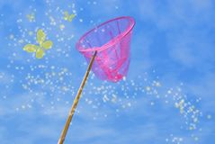 Pink butterfly net. And magic yellow butterflies over blue sky Stock Photography