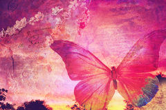Pink butterfly old postcard background Stock Photo
