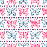 Pink butterfly pattern. Celebration seamless Stock Image