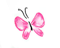 Pink butterfly simple illustration. Pink butterfly illustration on white background Royalty Free Stock Image