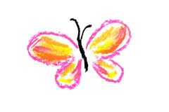 Pink butterfly simple illustration. Pink and yellow butterfly illustration on white background Stock Image