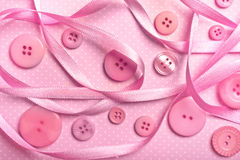 Pink buttons. Various pink buttons with pink ribbon Royalty Free Stock Images