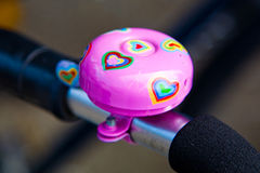Pink bycicle bell Royalty Free Stock Photo
