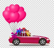 Pink cabriolet car with presents and bunch of heart balloons. Pink modern opened cartoon cabriolet car with presents and bunch of rose helium heart shaped Stock Photos