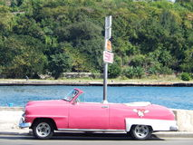PINK CABRIOLET WITH HELLO KITTY, HAVANA, CUBA Royalty Free Stock Photography