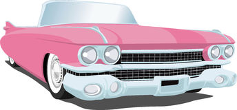 Pink Cadillac. A Vector . eps illustration of a 1959 Cadillac Ccnvertible. Saved in layers for easy editing. See my portfolio for more automotive images stock illustration