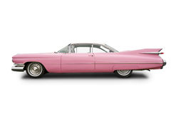 Pink cadillac classic car. Classic Pink cadillac car, isolated on a white background Royalty Free Stock Photography