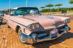 Pink Cadillac Deville 62 Oldtimer at the annual national oldtimer day in Lelystad stock photos