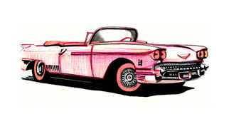 Pink Cadillac, hand drawing Stock Photos