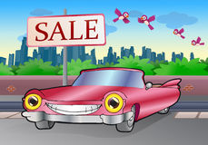 Pink cadillac sale. Illustration of a pink cadillac sale car on a city background Stock Photography