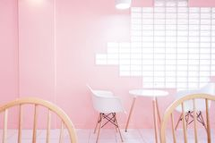 Pink room with with chair and table Royalty Free Stock Photo