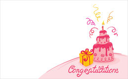 Pink cake. Complimentary background with cake and gifts stock illustration