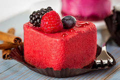 Pink cake with berries Stock Photo