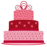 Pink cake for birthday. Vector illustration of pink cake for birthday Stock Photos