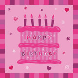 Pink cake birthday card Stock Photos