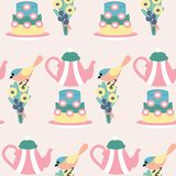 Pink cake and boho flowers in a seamless pattern design