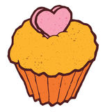 Pink cake cupcake illustration with heart shaped Stock Photo