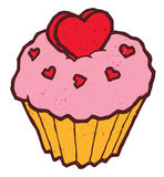 Pink cake cupcake illustration with heart shaped Stock Photography