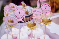 Pink cake for a girl on the birthday of one year old Royalty Free Stock Photos