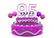 Happy Birthday. Pink cake with Happy Birthday and number on top royalty free illustration