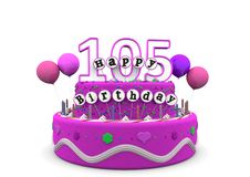 Happy Birthday. Pink cake with Happy Birthday and number on top Stock Images